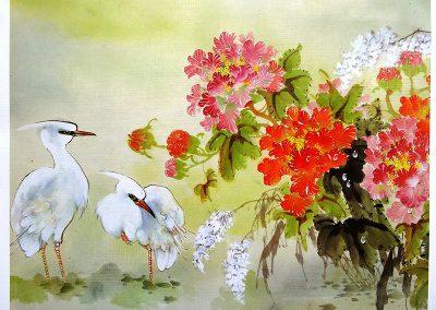 Grabado Aves con flores 6/26