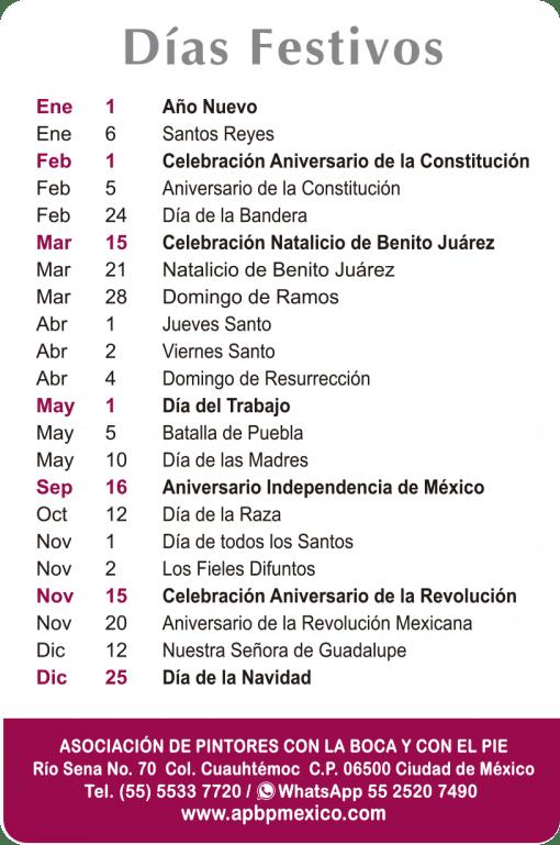 Calendario de bolsillo 2021