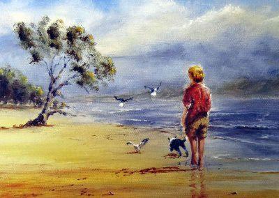 Grabado Niño en la playa 26/26